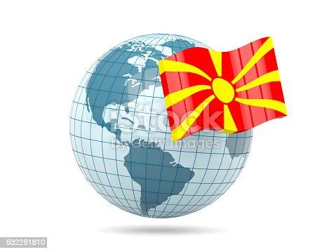 istock Globe with flag of macedonia 532261810