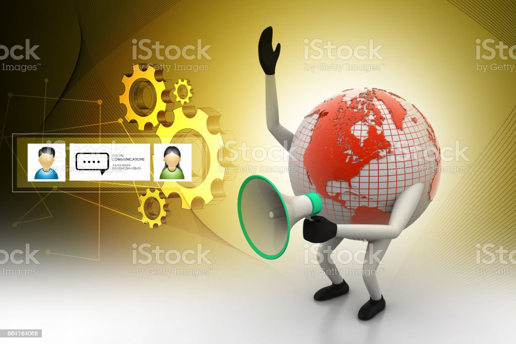 Globe with loudspeaker royalty-free stock photo