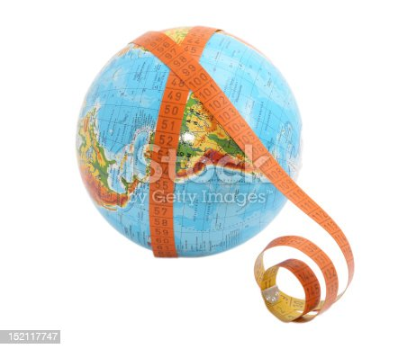 globe with meashure tape on it