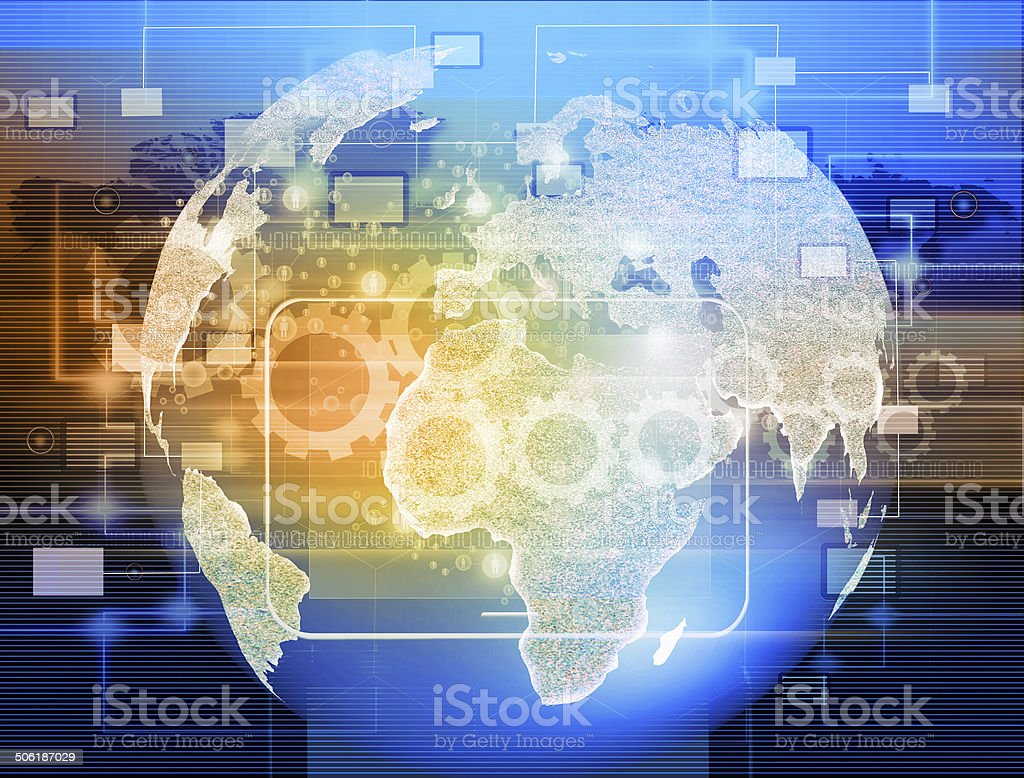 Globe with pointers, signals and social networking icons, Social stock photo