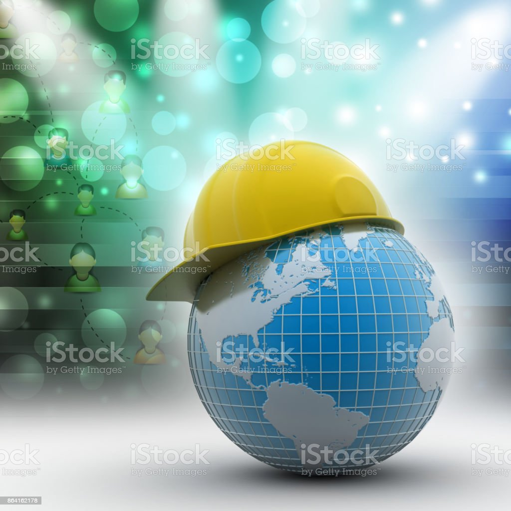 Globe with safety helmet royalty-free stock photo