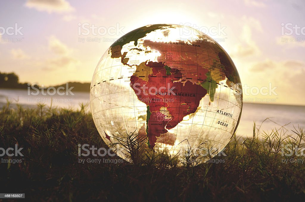 globe with south america featured stock photo