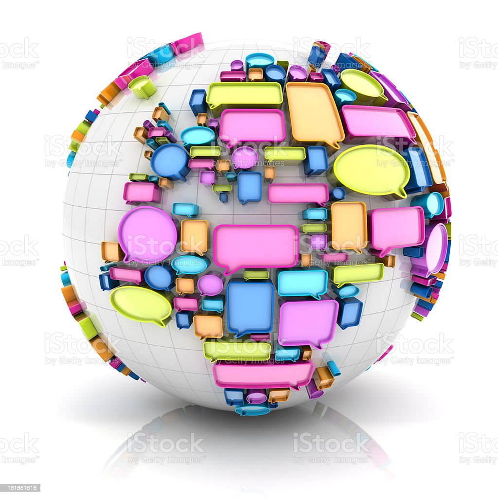 Globe with speech bubbles, Europe version stock photo