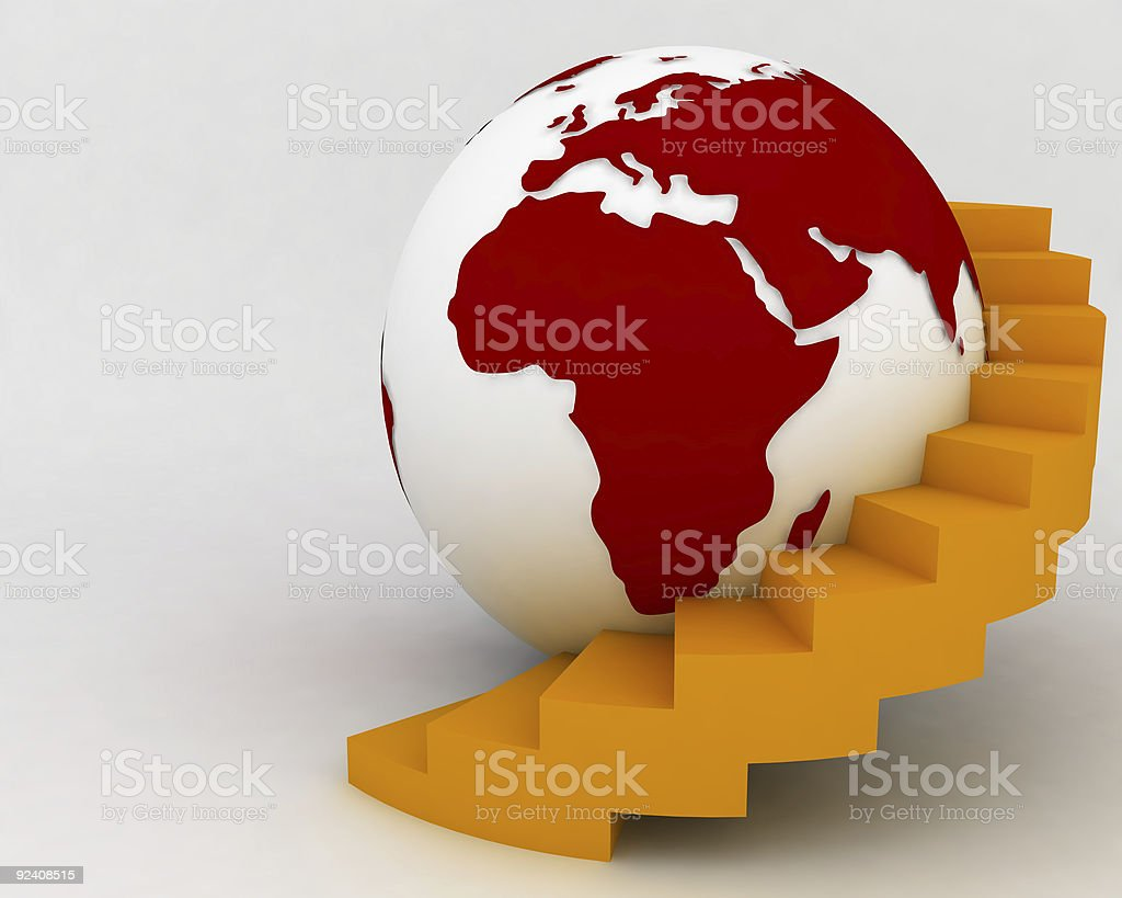 Globe with stairs royalty-free stock photo