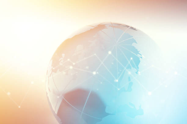 Globe with Technology Geometric Network Graphic Globe with technology geometric network graphic. global village stock pictures, royalty-free photos & images