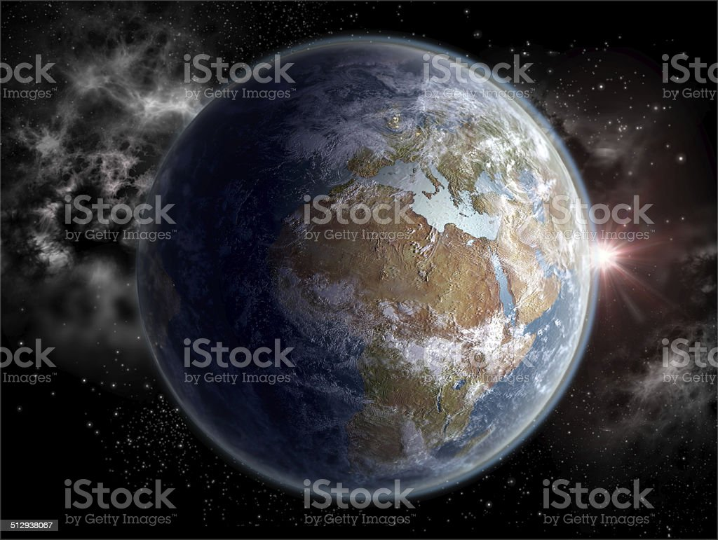 Globe with the African and European continents in daylight stock photo