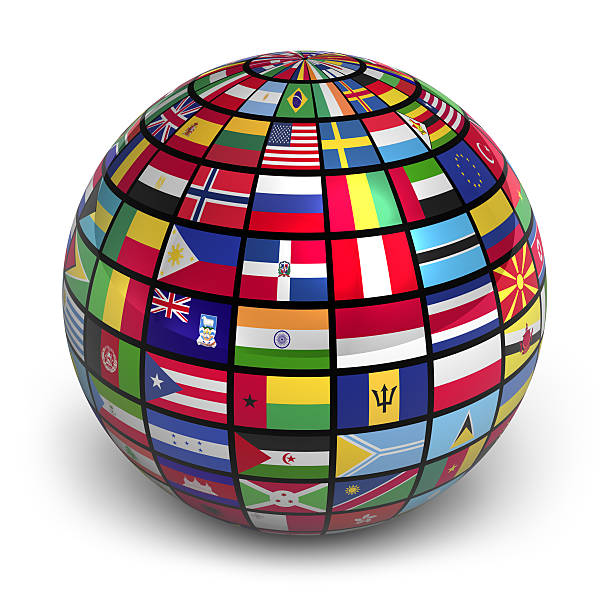Globe with world flags See also: national flag stock pictures, royalty-free photos & images
