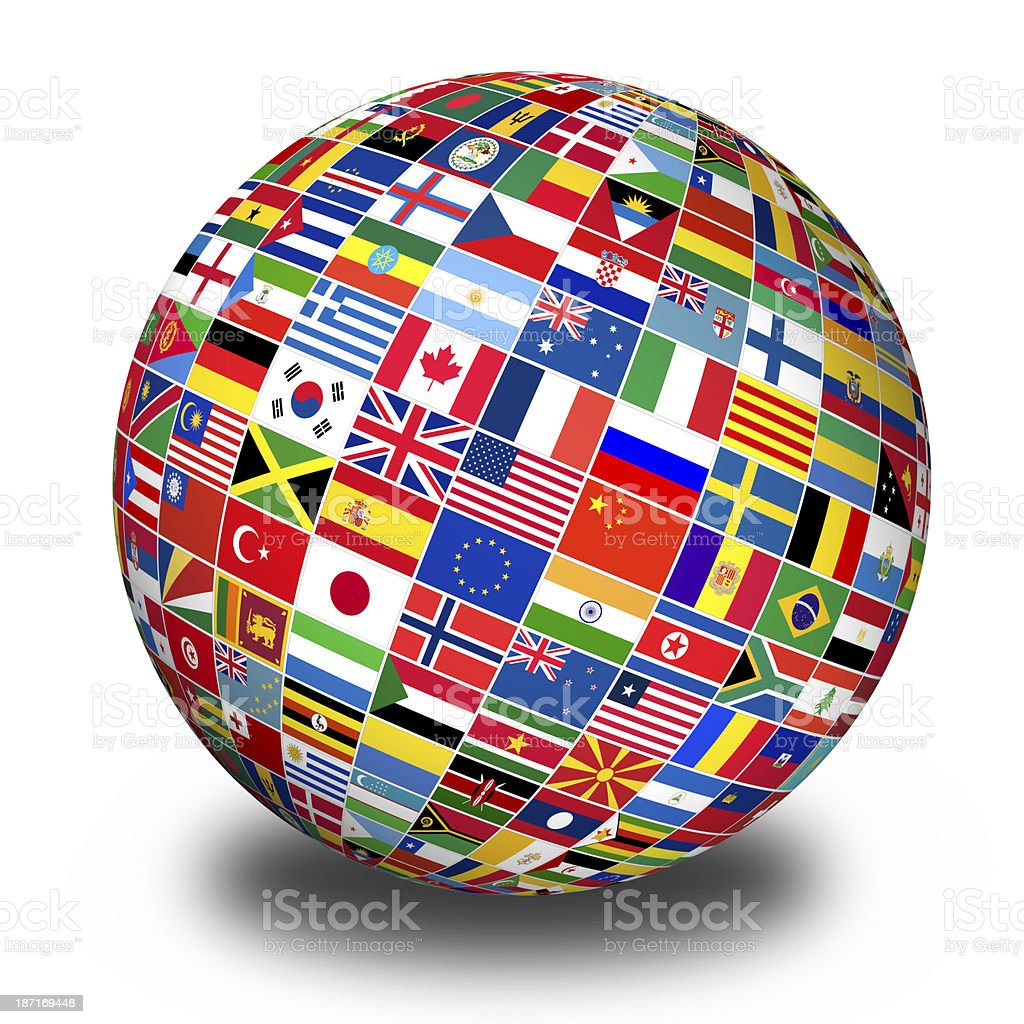 Globe with world flags royalty-free stock photo