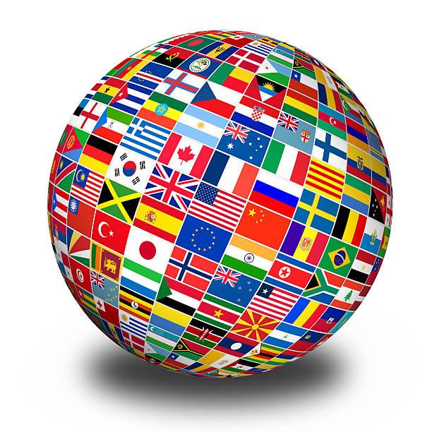 Globo con banderas del mundo - foto de stock