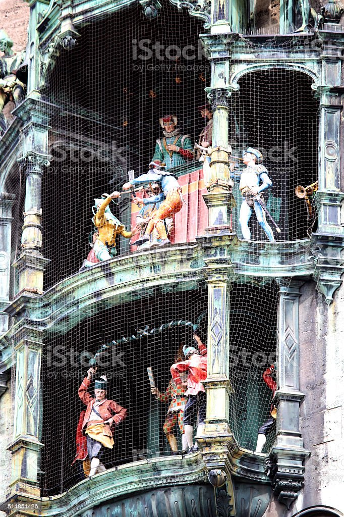 Glockenspiel on the city hall of Munich, Germany stock photo