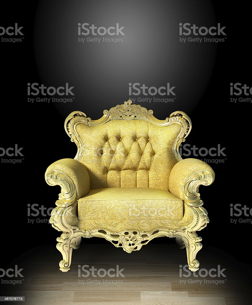 Glod classic luxury chair on black stock photo