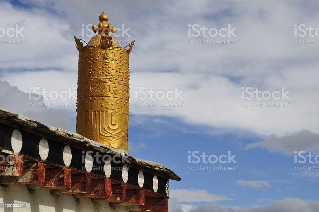 Gloden Prayer wheel royalty-free stock photo