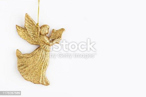 Glodener angel on white background