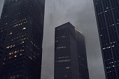 Gloomy and rainy weather in the financial district of Singapore