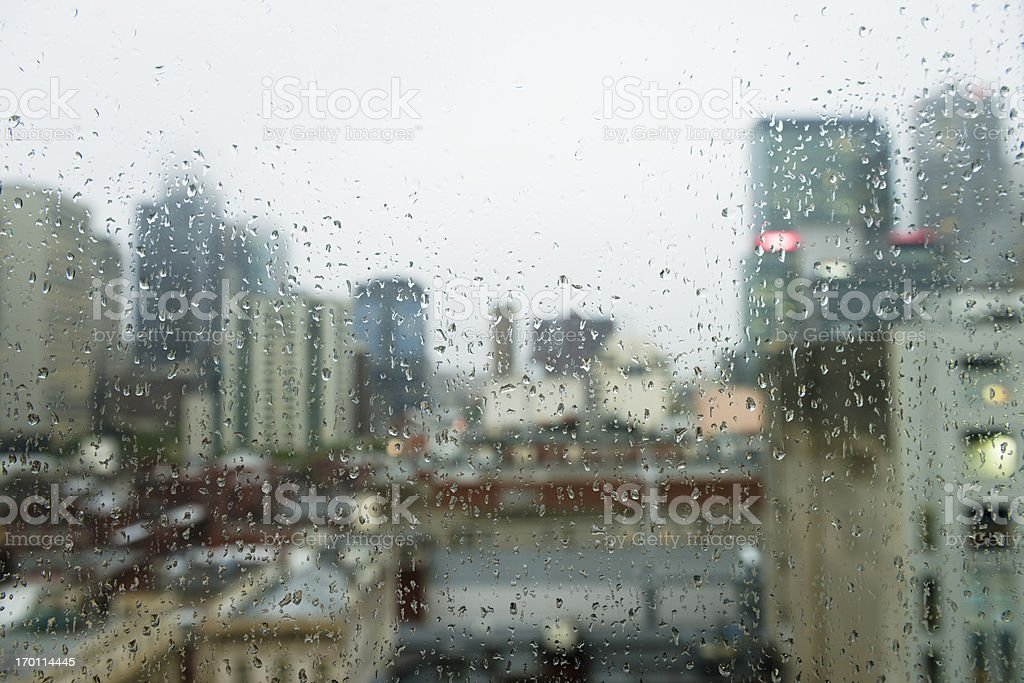 Gloomy City Rain stock photo
