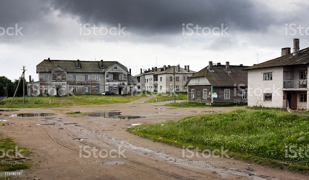 Gloomy morning in Solovki stock photo
