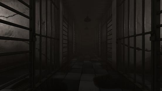 Gloomy Prison Corridor Rendering