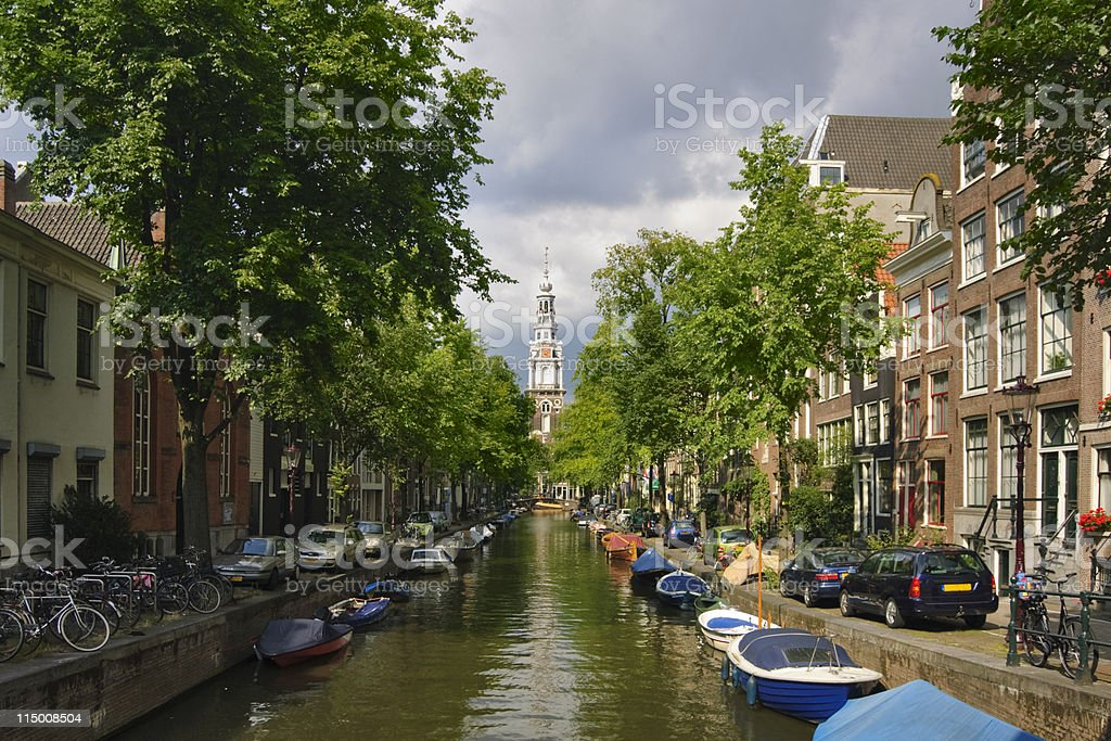 Gloomy view on a Zuiderkerk church in Amsterdam royalty-free stock photo