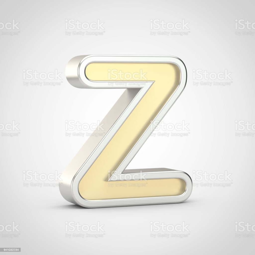Gloosy golden letter z uppercase with silver outline isolated on gloosy golden letter z uppercase with silver outline isolated on white background royalty free spiritdancerdesigns Image collections