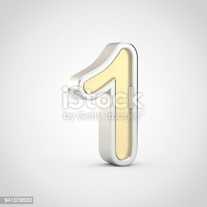 133379665 istock photo Gloosy golden number 1 with silver outline isolated on white background. 941029530