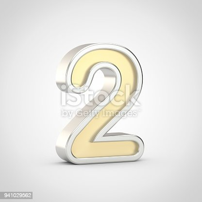 133379665 istock photo Gloosy golden number 2 with silver outline isolated on white background. 941029562
