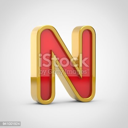 133379665 istock photo Gloosy red letter N uppercase with golden outline isolated on white background. 941001524