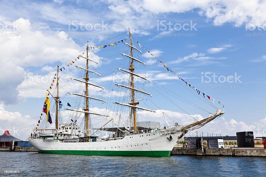Gloria tall ship in Copenhagen harbour royalty-free stock photo