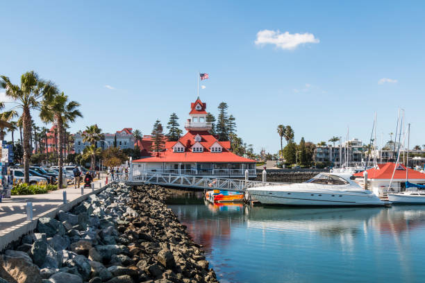 Glorietta Bay Yacht Marina with Hotel Del Coronado stock photo