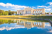 Gloriette viewpoint and Schonbrunn fountain lake in Vienna view, capital of Austria