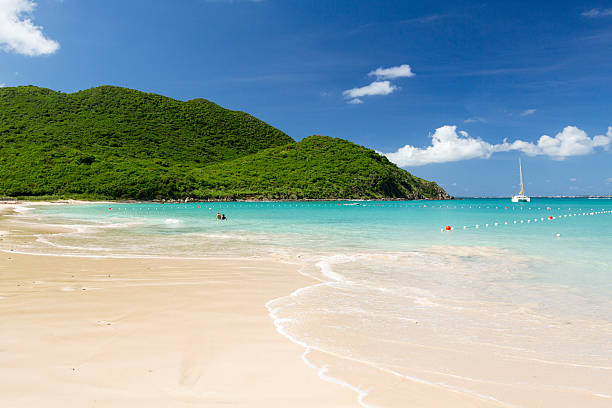 Glorious beach at Anse Marcel on St Martin stock photo