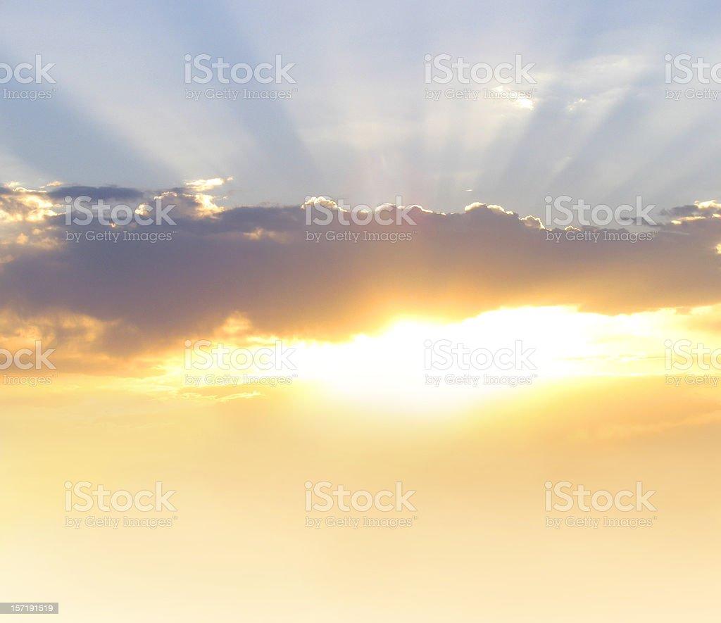 Glorious Morning Beautiful Sunrise or Sunset with Rays stock photo