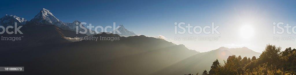 Glorious mountain dawn panorama Annapurna peaks Himalayas Nepal royalty-free stock photo