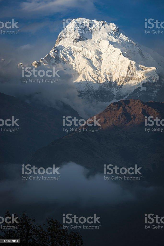 Glorious snowy mountain peak Annapurna South Himalayas Nepal royalty-free stock photo