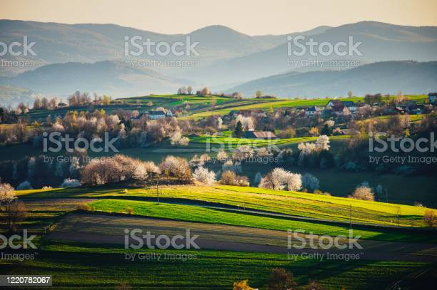 Photo of Glorious sunrise over grassy rural landscape in Romania with a two bar fence disappearing off into the distance.