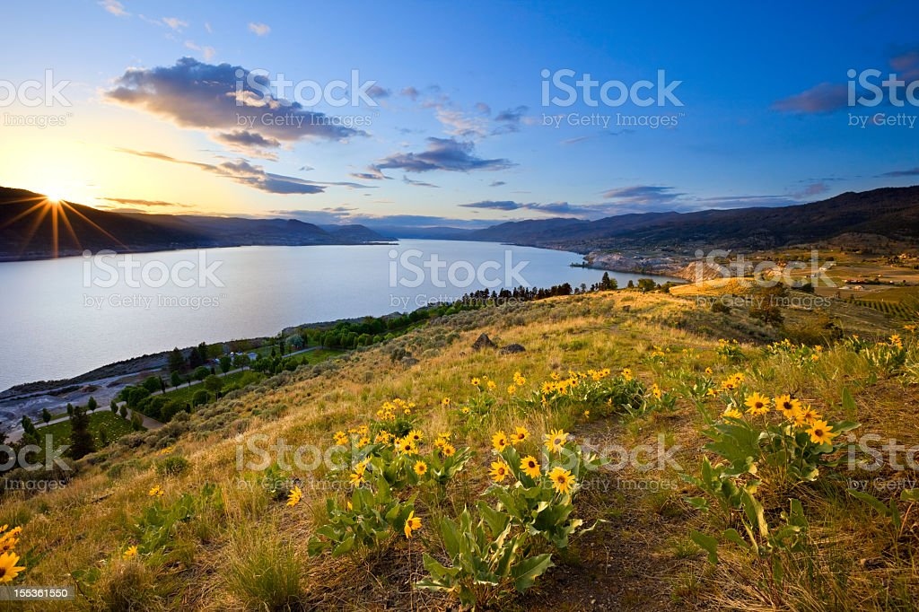 Glorious Sunset, Lake Landscape stock photo
