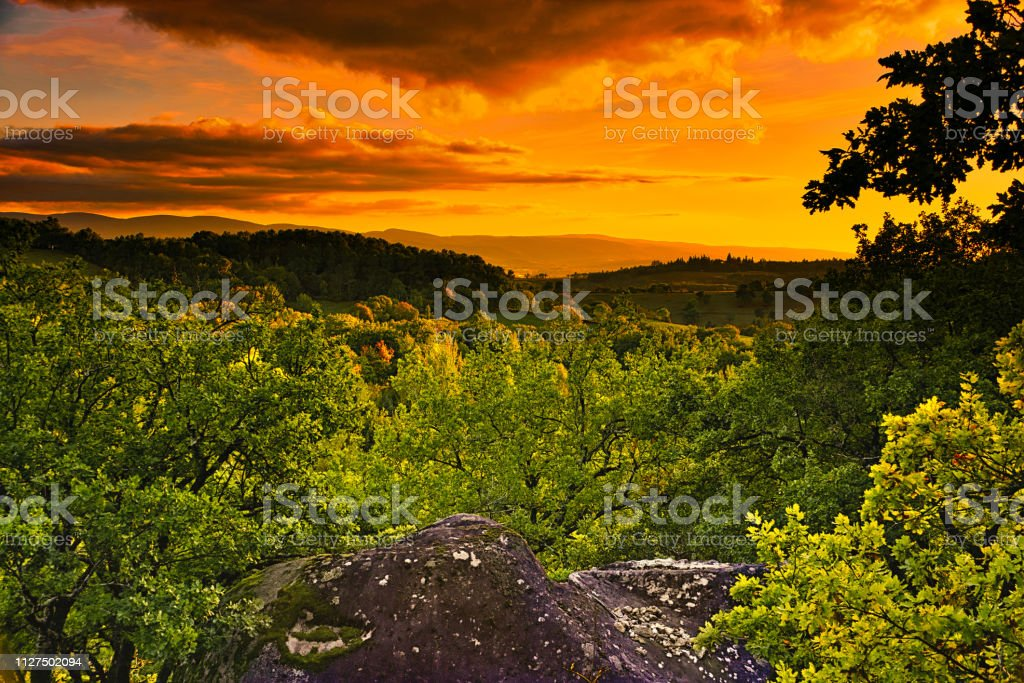 Glorious sunset over the Sidobre Mountains stock photo