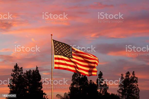 Photo of Glorious sunset with American Flag (P)