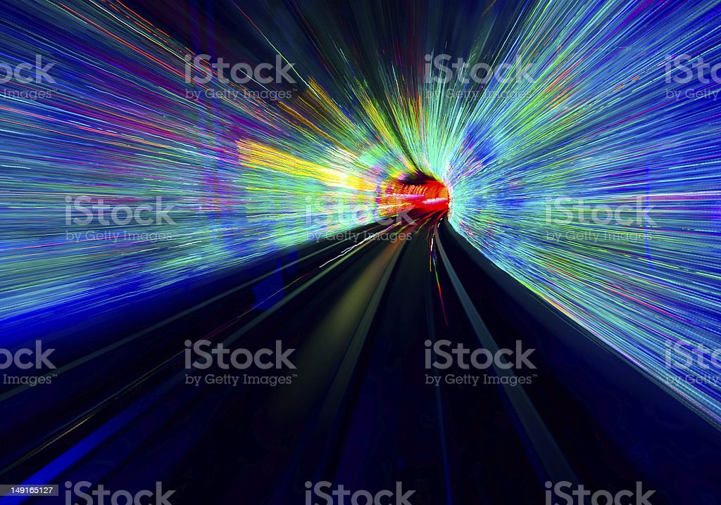 Glorious tunnel with different colors of rays stock photo