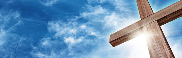glorious wooden cross - church stock photos and pictures