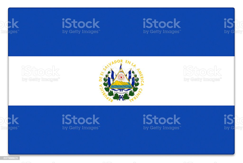 Gloss flag of El Salvador on white stock photo
