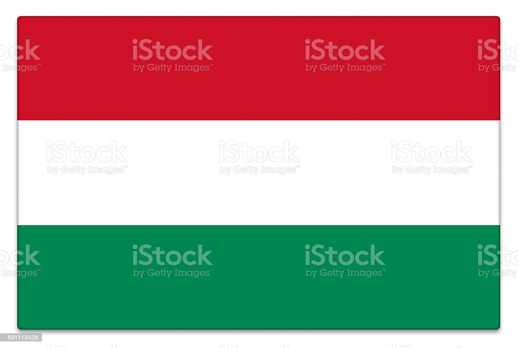 Gloss flag of Hungary on white stock photo