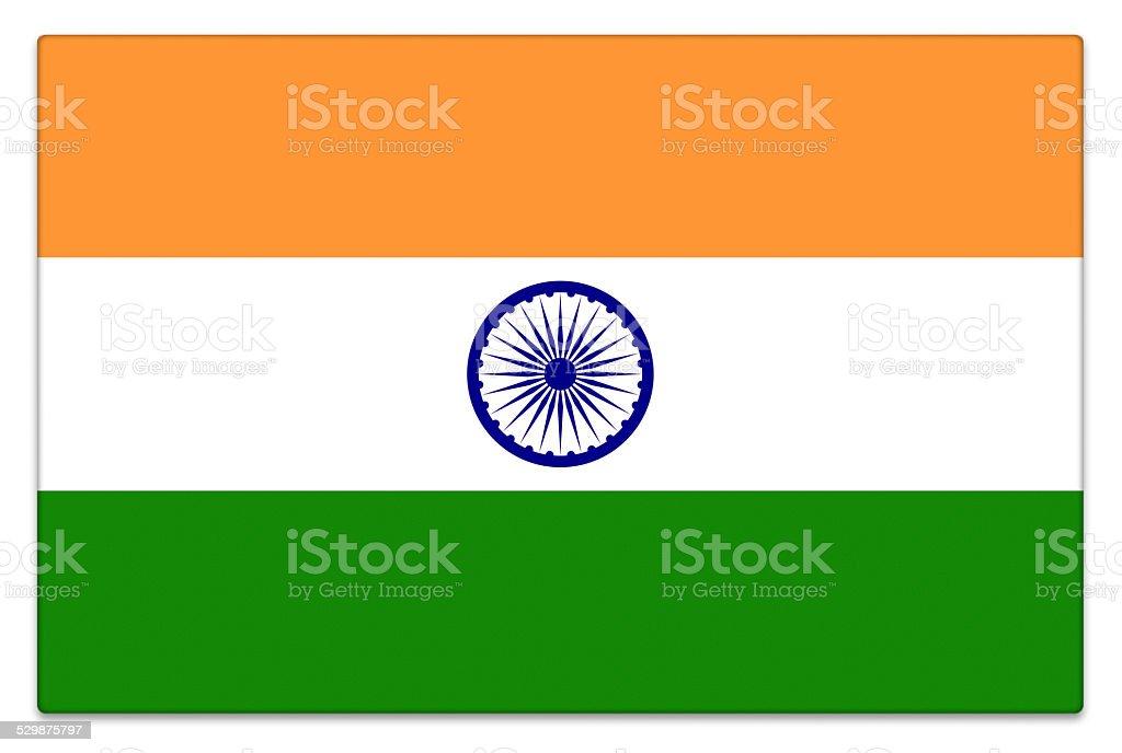 Gloss bandeira da Índia no branco - foto de acervo