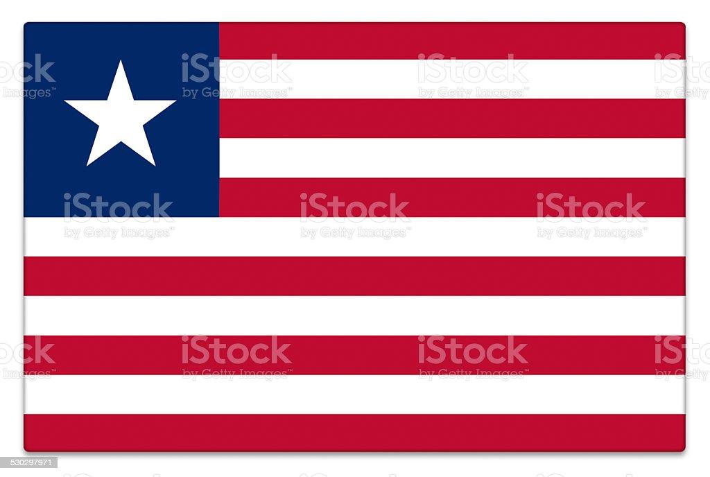 Gloss flag of Liberia on white stock photo