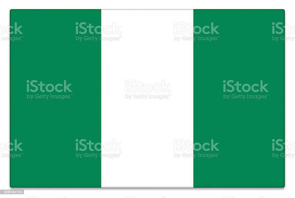 Brillo bandera de Nigeria sobre blanco - foto de stock