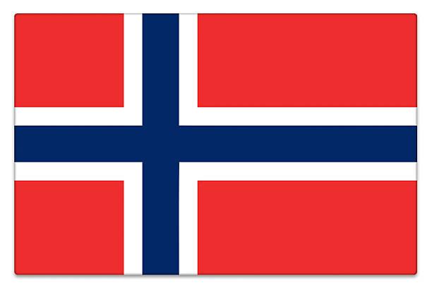 glänzendes flagge von norwegen auf weiß - norwegen fahne stock-fotos und bilder