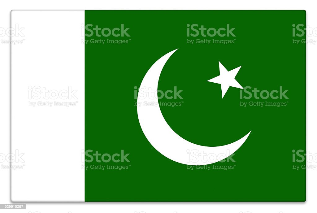Gloss flag of Pakistan on white stock photo