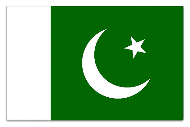 gloss flag of pakistan on white - pakistani flag stock photos and pictures