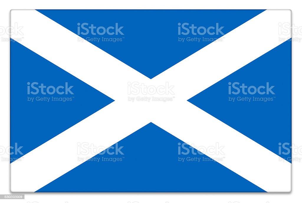 Gloss flag of Scotland on white stock photo