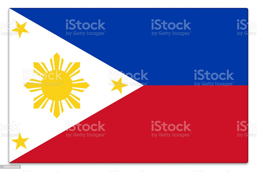 Gloss flag of the Philippines on white stock photo