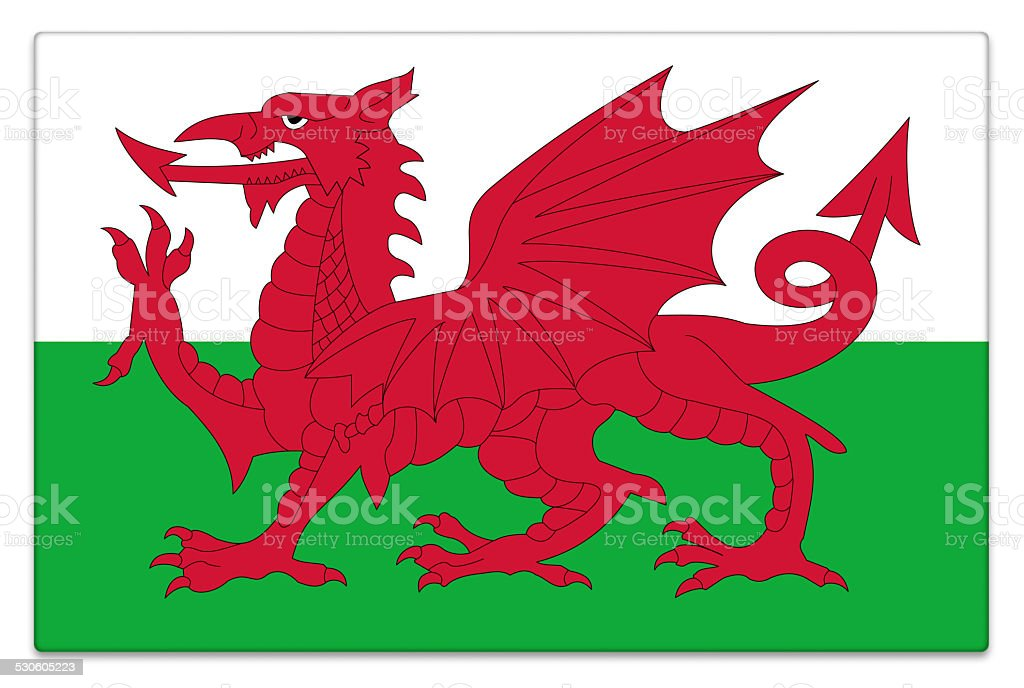 Gloss flag of Wales on white stock photo